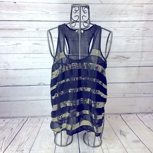 Iris Los Angeles Gold Sequin Striped Tank